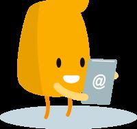 Petit personnage tenant dans ses mains un document avec le signe arobase qui illustre le formulaire de contact